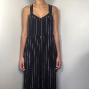 Urban outfitters blue stripped jumpsuit